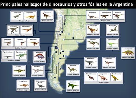 Mapa de hallazgos de fósiles en la Argentina